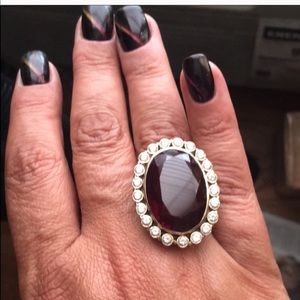 Garnet and white sapphire 14k gold ring